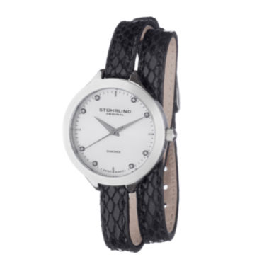 jcpenney.com | Stührling® Original Womens Diamond-Accent Black Leather Wrap Watch