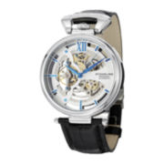Stührling® Original Mens Silver-Tone Dial Skeleton Automatic Watch