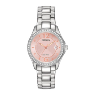 jcpenney.com | Citizen® Eco-Drive® Silhouette Womens Crystal-Accent Pink Dial Watch FE1140-86X