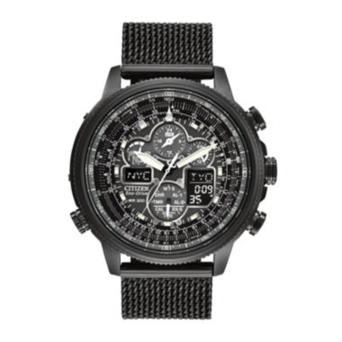 jcpenney.com | Citizen® Eco-Drive® Navihawk A-T Mens Mesh Strap Chronograph Watch JY8037-50E