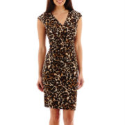 Black Label by Evan Picone Cap-Sleeve Animal Print Faux-Wrap Dress