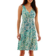 St. John's Bay® Sleeveless Floral Print Pleated Dress