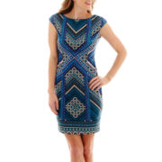 London Style Collection Cap-Sleeve Geometric Print Sheath Dress