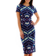London Style Collection Short-Sleeve Print Midi Sheath Dress