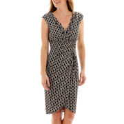 London Style Collection Sleeveless Faux-Wrap Sheath Dress