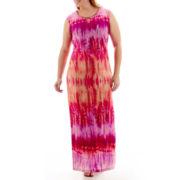 Studio 1® Sleeveless Tie-Dyed Print Maxi Dress - Plus