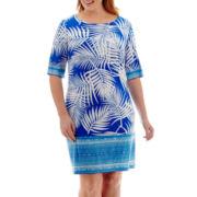 Studio 1® 3/4-Sleeve Palm Print Shift Dress - Plus