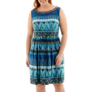 Studio 1® Sleeveless Aztec Print Beaded-Neck Fit-and-Flare Dress - Plus