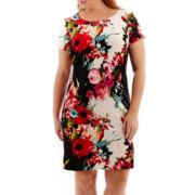 Studio 1® Short-Sleeve Floral Print Sheath Dress - Plus