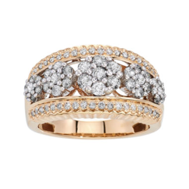 jcpenney.com | diamond blossom 1 CT. T.W. Diamond 14K Yellow Gold 5-Cluster Ring