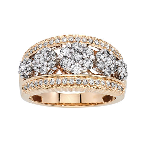 diamond blossom 1 CT. T.W. Diamond 14K Yellow Gold 5-Cluster Ring