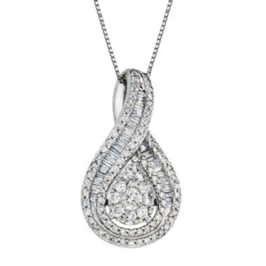 jcpenney.com | 1 CT. T.W. Diamond 10K White Gold Pear-Shaped Pendant Necklace