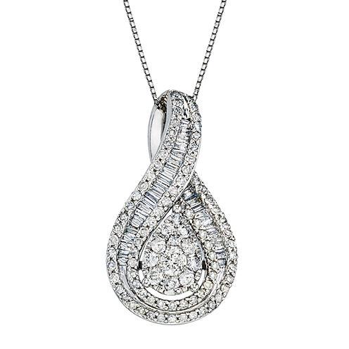 1 CT. T.W. Diamond 10K White Gold Pear-Shaped Pendant Necklace