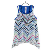 Beautees Solid and Chevron Tank Tops with Necklace - Girls 7-16