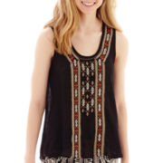 by&by Split-Back Embroidered Tank Top