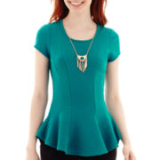by&by Short-Sleeve Textured Peplum Necklace Top