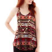 by&by Sleeveless Aztec Print Necklace Top
