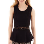 by&by Sleeveless Solid Peplum Crochet-Inset Top