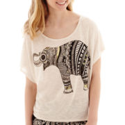 by&by Short-Sleeve Elephant Graphic T-Shirt