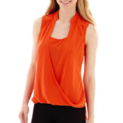 XOXO Sleeveless Solid Twist-Front Top