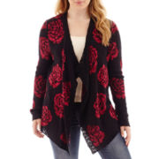Arizona Long-Sleeve Rose Print Cardigan - Plus
