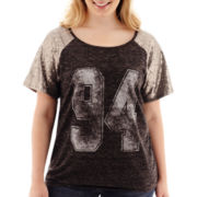 Arizona Short-Sleeve Sequin Baseball T-Shirt - Plus