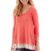 Arizona 3/4 Sleeve Lace Knit Hem Tunic