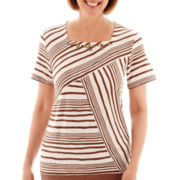 Alfred Dunner® Indian Summer Short-Sleeve Spliced Striped Top - Petite