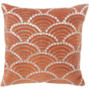 "BiniChic Terracotta Fishscale 16"" Square Decorative Pillow"