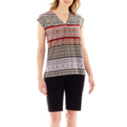 Liz Claiborne® Scarf Print Top or Chino Bermuda Shorts - Petite