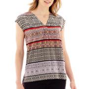 Liz Claiborne® Cap-Sleeve Scarf Print Top - Petite