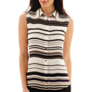 Liz Claiborne® Sleeveless Boyfriend Button-Front Top - Tall