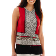 Liz Claiborne® Sleeveless Scarf Print Knit Top