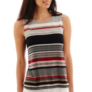 Liz Claiborne® Sleeveless Print Striped Knit Top