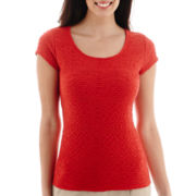 Liz Claiborne® Short-Sleeve Textured T-Shirt