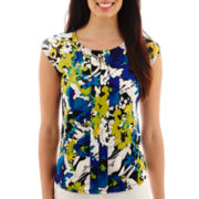 Liz Claiborne® Sleeveless Extended-Shoulder Front-Pleat Top