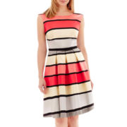Danny & Nicole® Sleeveless Belted Striped Fit-and-Flare Dress - Petite