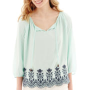 Hollywould 3/4-Sleeve Lace-Yoke Laser-Cut Top