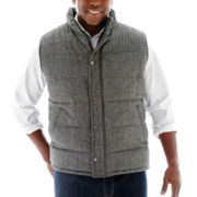 Claiborne® Tweed Puffer Vest–Big & Tall