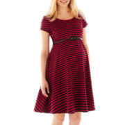 Maternity Short-Sleeve Striped Belted Dress