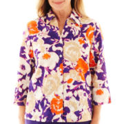 Alfred Dunner® Indochine 3/4-Sleeve Abstract Floral Shirt