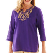 Alfred Dunner® Indochine 3/4-Sleeve Beaded Metallic Yoke Tunic Top