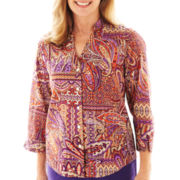 Alfred Dunner® Indochine 3/4-Sleeve Paisley Patch Shirt