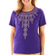 Alfred Dunner® Indochine Short-Sleeve Beaded-Center Top