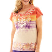 Alfred Dunner® Indochine Short-Sleeve Tribal Ombré Top