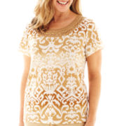 Alfred Dunner® Indochine Short-Sleeve Medallion Top