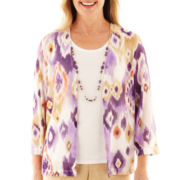 Alfred Dunner® Indochine Diamond Layered Top with Necklace