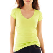 jcp™ Short-Sleeve Ribbed V-Neck T-Shirt