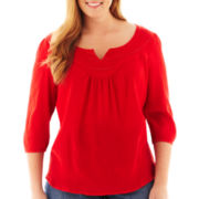 St. John's Bay® 3/4-Sleeve Beaded Peasant Top - Tall