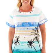 Alfred Dunner® St. Barth's Palm Tree Scenic Top - Plus